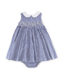 Sleeveless Bengal-Striped Poplin Dress w/ Bloomers, Blue, Size 9-24 Months