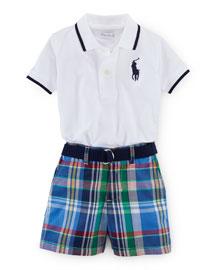 Tipped Basic Mesh Polo Shirt w/ Plaid Shorts, White, Size 9-24 Months