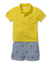 Basic Mesh Polo Shirt w/ Seersucker Shorts, Yellow, Size 9-24 Months