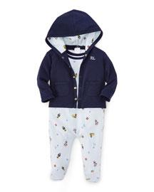 Cotton Jacket, Overalls & Playsuit Layette Set, Beryl Blue, Size 3-9 Months