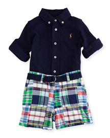 Mesh-Knit Shirt w/ Belted Patchwork Shorts, French Navy, Size 9-24 Months