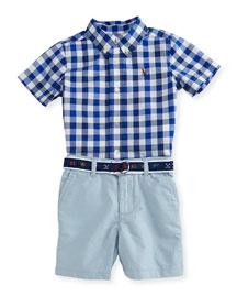 Gingham Poplin Shirt w/ Belted Shorts, Blue, Size 9-24 Months