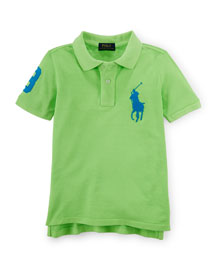 Short-Sleeve Cotton Pony Polo, Flo Ultra Lime, Size 2-7