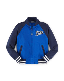 Cotton Colorblock Baseball Jacket, Cruise Royal, Size 2-7