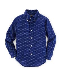 Long-Sleeve Polka-Dot Poplin Shirt, Blue, Size 2-7