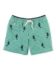Gingham Traveler Swim Trunks, Green, Size 2-7