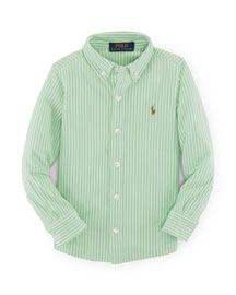Striped Mesh Button-Front Shirt, Green, Size 2-7