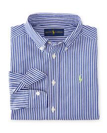 Long-Sleeve Striped Poplin Shirt, Size 2-7