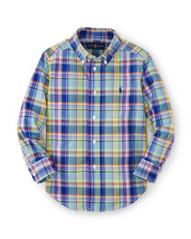 Long-Sleeve Plaid Poplin Shirt, Blue/Multicolor, Size 2-7