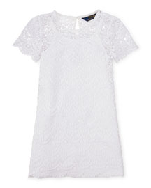Short-Sleeve Chemical Lace Shift Dress, White, Size 2-6X