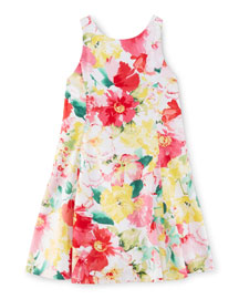 Sleeveless Floral Cotton Fit-and-Flare Dress, Pink, Size 2-6X