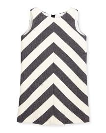 Sleeveless Mitered-Stripe Shift Dress, Navy/White, Size 4-7