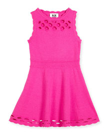 Scalloped Laser-Cut Fit-and-Flare Dress, Fuchsia, Size 4-7