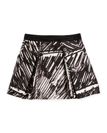 Katie Pleated Scribble-Print Skirt, Black, Size 8-14