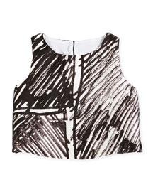 Sleeveless Scribble-Print Crop Top, Black, Size 8-14