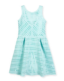 Sleeveless Laser-Cut Neoprene Dress, Turquoise, Size 8-16