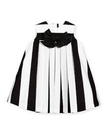 Striped Pleated Shift Dress, Black/White, Size 6M-3