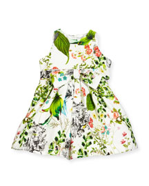 Sleeveless Floral Pique A-Line Dress, White/Multicolor, Size 4-6