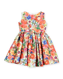 Sleeveless Crinkled Floral Circle Dress, Coral, Size 4-6