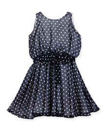 Sleeveless Polka-Dot Georgette Dress, Navy, Size 7-16