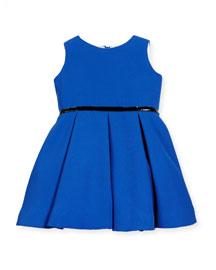 Sleeveless Pleated A-Line Dress, Royal, Size 7-14