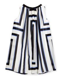 Geometric Georgette Swing Dress, Black/Blue, Size 7-10
