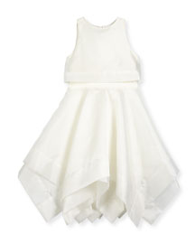 Sleeveless Organza Popover Dress, Ivory, Size 7-16