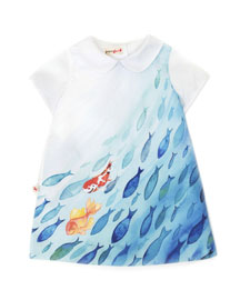Collared Goldfish Shift Dress, Blue, Size 12M-6
