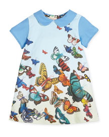 Collared Butterfly Shift Dress, Blue, Size 12M-6