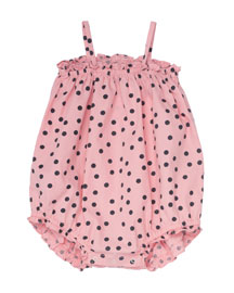 Sleeveless Polka-Dot Bubble Playsuit, Bright Pink, Size 3 Months