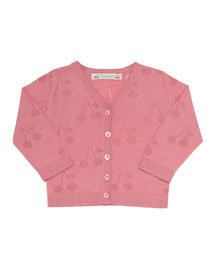 Pointelle Cherry V-Neck Cardigan, Pink, Size 18M-2Y