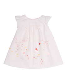 Sleeveless Floral Poplin Shift Dress, Baby Pink, Size 6-12 Months