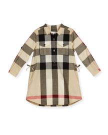 Darielle Long-Sleeve Check Shirtdress, New Classic, Size 4-14