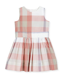 Alenna Sleeveless Smocked Check Dress, Light Copper Pink, Size 4-14