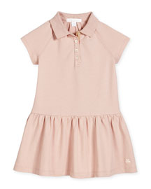 Cali Smocked Raglan Polo Dress, Chalk Pink, Size 4-14
