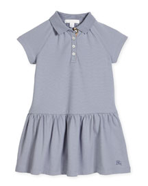 Cali Smocked Raglan Polo Dress, Light Blue, Size 4-14