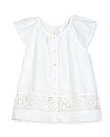 Lully Sleeveless Lace-Trim Summer Blouse, White, Size 4-14