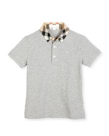 William Check-Collar Pique Polo Shirt, Pale Gray Melange, Size 4-14