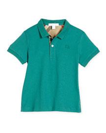 Mini PPM Jersey Polo Shirt, Storm Green, Size 4-14