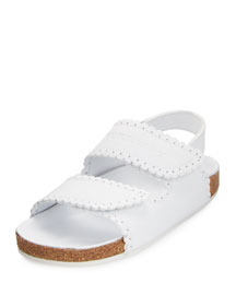 Gallas Scalloped Leather Sandal, White, Youth