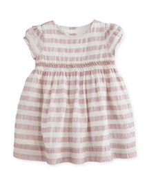 Marielle Striped Silk Dress, Light Copper Pink, Size 6M-3