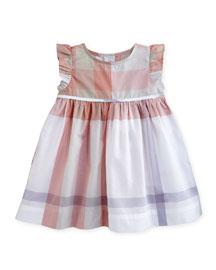Mini Amanda Sleeveless Check Dress, Light Copper Pink, Size 6M-3