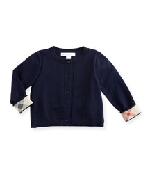 Rheta Cotton Button-Front Cardigan, Navy, Size 6M-3