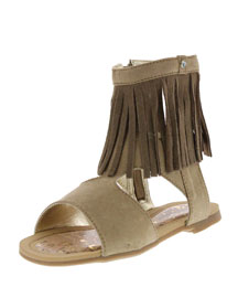 Fringe Microsuede� Gladiator Sandal, Natural, Toddler