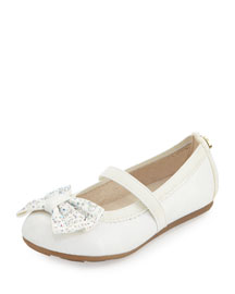 Fannie Jeweled-Bow Faux-Leather Mary Jane, White, Toddler