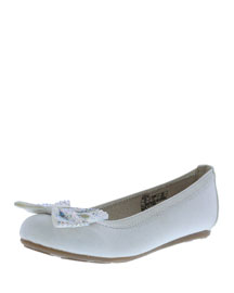 Fannie Jeweled-Bow Faux-Leather Ballet Flat, White, Youth
