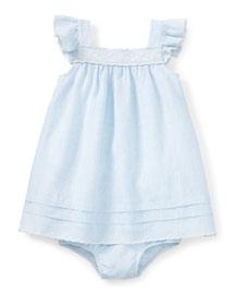 Sleeveless Heathered Linen Shift Dress w/ Bloomers, Blue, Size 9-24 Months