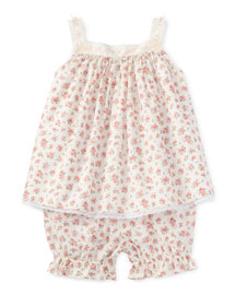 Floral Batiste Tank w/ Bloomers, Pink, Size 9-24 Months
