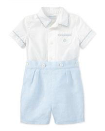 Short-Sleeve Cotton Shirt w/ Linen Shorts, White, Size 9-24 Months