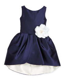 Sleeveless Sateen Party Dress, Navy/Ivory, Size 7-16